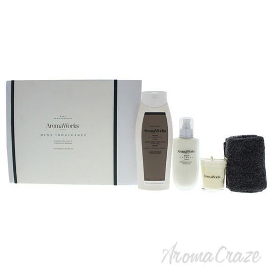 Picture of Mens Indulgence Set by Aromaworks for Men - 4 Pc Set 3.4oz AfterShave Lotion, 10.1oz Body Wash, 10.1