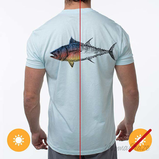 Picture of Men Classic Crew Tee - Big Fish-Ice Blue by DelSol by Men - 1 Pc T-Shirt (Small)