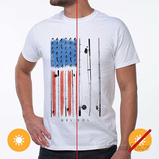 Picture of Men Classic Crew Tee - American Fly-White by DelSol by Men - 1 Pc T-Shirt (XL)