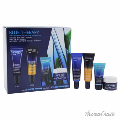 Biotherm Blue Therapy Kit 0.16oz Blue Therapy Night, 0.16oz Blue Therapy Eye, 0.33oz Blue Therapy Serum-In-Oil Nuit, 0.33oz Blue Therapy Multi-Defender SPF 25 Unisex 4 Pc Kit - Eye Care Products | Eye Treatment | Eye Skincare Products | All Natural Skin care | Best Anti Aging Skin Care Products |  AromaCraze.com