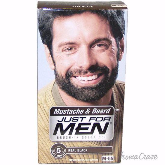 Just For Men Brush-In Color Gel Mustache & Beard Real Black # M-55 for Men  3 Pc Kit