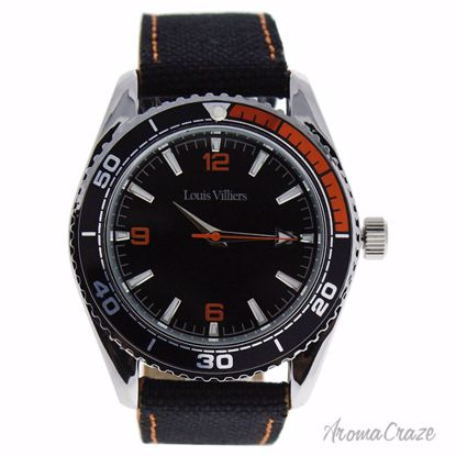 Louis Villiers LV1043 Silver/Black Leather Strap Watch for M