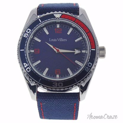 Louis Villiers LV1042 Silver/Blue Leather Strap Watch for Me