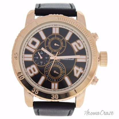 Antoneli AG1905-03 Rose Gold/Black Leather Strap Watch for M