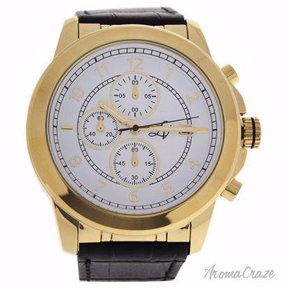 Louis Villiers LV1019 Gold/Black Leather Strap Watch for Men