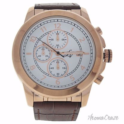 Louis Villiers LV1020 Rose Gold/Brown Leather Strap Watch fo