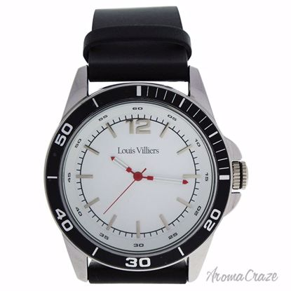 Louis Villiers LV1001 Silver/Black Leather Strap Watch for M