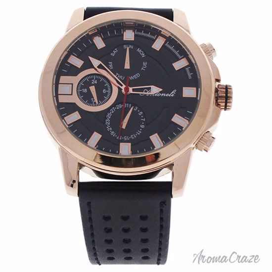 Antoneli AG0064-03 Rose Gold/Black Leather Strap Watch for M
