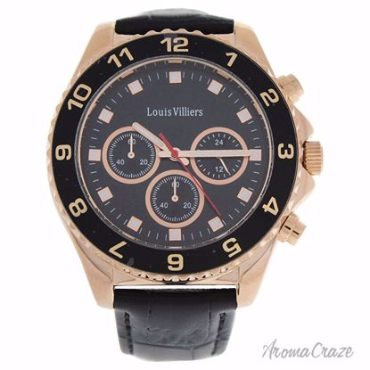 Louis Villiers LVAG5877-11 Rose Gold/Black Leather Strap Wat