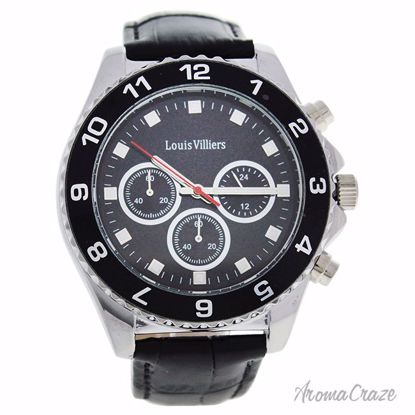Louis Villiers LVAG5877-4 Black/Silver Leather Strap Watch f
