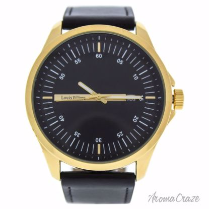 Louis Villiers AG3804-04 Gold/Black Leather Strap Watch for