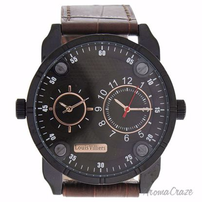 Louis Villiers AG3736-12 Black/Brown Leather Strap Watch for