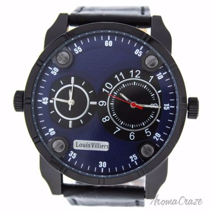 Louis Villiers AG3736-14 Black/Black Leather Strap Watch for
