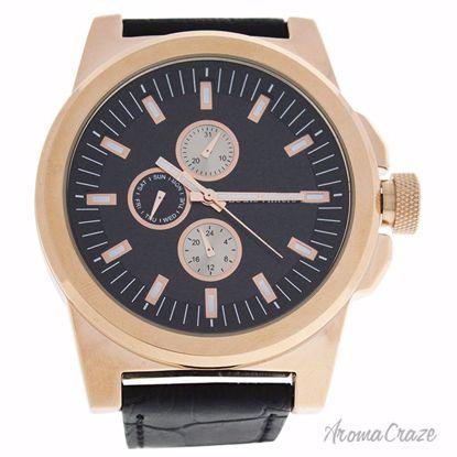 Louis Villiers LVAG3733-15 Rose Gold/Black Leather Strap Wat