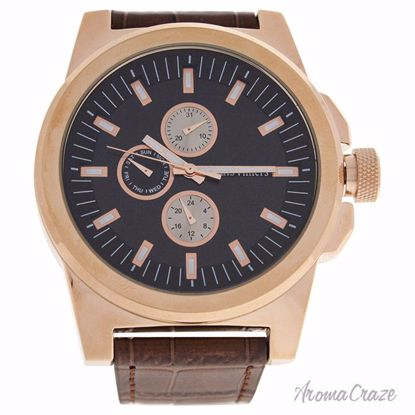 Louis Villiers LVAG3733-16 Rose Gold/Brown Leather Strap Wat