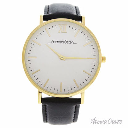 Andreas Osten AO-103 Klassisk Gold/Black Leather Strap with Blue-White-Red Nylon Strap Watch for Men 1 Pc - Mens Luxury Watches | Watches For Men on Sale | Analog Watches For Men | Affordable Luxury Watches | Popular Mens Watches | AromaCraze.com