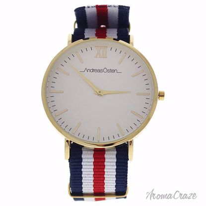 Andreas Osten AO-63 Somand Gold/Navy Blue-White-Red Nylon Strap Watch Unisex 1 Pc - Best Unisex Watches | Unisex Watches on Sale | Watches For Men and Women | Affordable Luxury Watches | AromaCraze.com