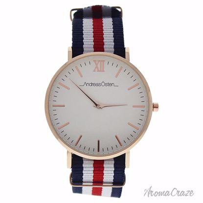 Andreas Osten AO-62 Somand Rose Gold/Navy Blue-White-Red Nylon Strap Watch Unisex 1 Pc - Best Unisex Watches | Unisex Watches on Sale | Watches For Men and Women | Affordable Luxury Watches | AromaCraze.com