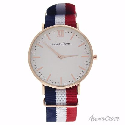 Andreas Osten AO-65 Somand Rose Gold/Navy Blue-White-Red Nylon Strap Watch Unisex 1 Pc - Best Unisex Watches | Unisex Watches on Sale | Watches For Men and Women | Affordable Luxury Watches | AromaCraze.com