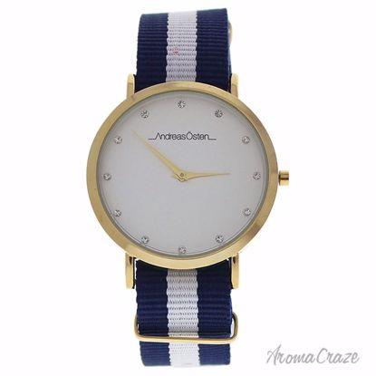Andreas Osten AO-20 Somand Gold/Navy Blue-White Nylon Strap Watch Unisex 1 Pc - Best Unisex Watches | Unisex Watches on Sale | Watches For Men and Women | Affordable Luxury Watches | AromaCraze.com