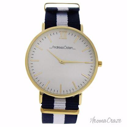 Andreas Osten AO-57 Somand Gold/Navy Blue & White Nylon Strap Watch Unisex 1 Pc - Best Unisex Watches | Unisex Watches on Sale | Watches For Men and Women | Affordable Luxury Watches | AromaCraze.com