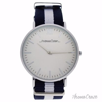 Andreas Osten AO-58 Somand Silver/Navy Blue & White Nylon Strap Watch Unisex 1 Pc - Best Unisex Watches | Unisex Watches on Sale | Watches For Men and Women | Affordable Luxury Watches | AromaCraze.com