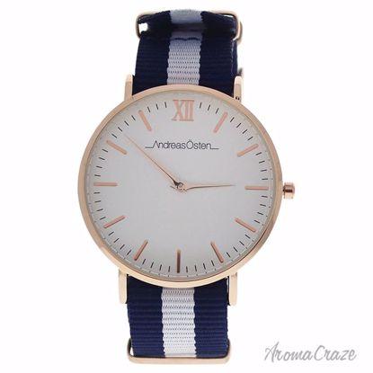 Andreas Osten AO-56 Somand Rose Gold/Navy Blue-White Nylon Strap Watch Unisex 1 Pc - Best Unisex Watches | Unisex Watches on Sale | Watches For Men and Women | Affordable Luxury Watches | AromaCraze.com