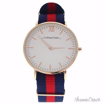 Andreas Osten AO-59 Somand Rose Gold/Navy Blue-Red Nylon Strap Watch Unisex 1 Pc - Best Unisex Watches | Unisex Watches on Sale | Watches For Men and Women | Affordable Luxury Watches | AromaCraze.com