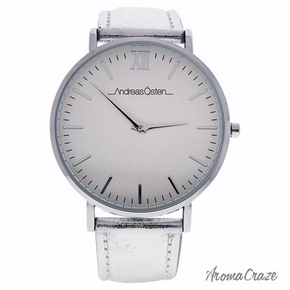 Andreas Osten AO-189 Hygge Silver/White Leather Strap Watch for Women 1 Pc - Best Womens Watches | Watches For Women on Sale | Luxury Watches For Women | Women Desginer Watches | Michael Kors Smarwatch | Affordable Luxury Watches | AromaCraze.com