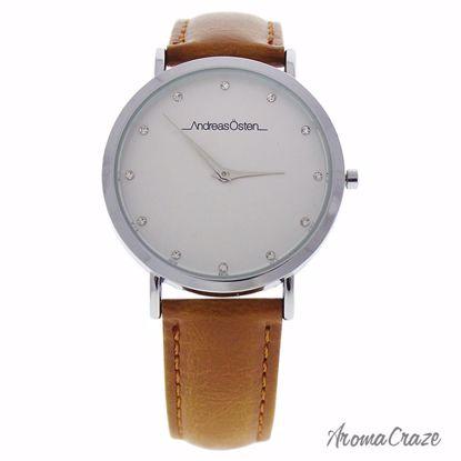 Andreas Osten AO-18 Klassisk Silver/Brown Leather Strap Watch for Women 1 Pc - Best Womens Watches | Watches For Women on Sale | Luxury Watches For Women | Women Desginer Watches | Michael Kors Smarwatch | Affordable Luxury Watches | AromaCraze.com