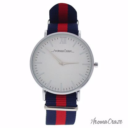 Andreas Osten AO-61 Somand Silver/Navy Blue-Red Nylon Strap Watch for Women 1 Pc - Best Womens Watches | Watches For Women on Sale | Luxury Watches For Women | Women Desginer Watches | Michael Kors Smarwatch | Affordable Luxury Watches | AromaCraze.com
