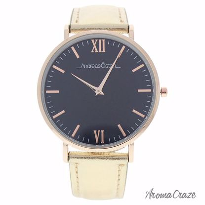 Andreas Osten AO-187 Hygge Gold/Black Leather Strap Watch for Women 1 Pc - Best Womens Watches | Watches For Women on Sale | Luxury Watches For Women | Women Desginer Watches | Michael Kors Smarwatch | Affordable Luxury Watches | AromaCraze.com