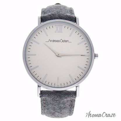Andreas Osten AO-194 Toutes Silver/Grey Tweed Leather Strap Watch for Women 1 Pc - Best Womens Watches | Watches For Women on Sale | Luxury Watches For Women | Women Desginer Watches | Michael Kors Smarwatch | Affordable Luxury Watches | AromaCraze.com