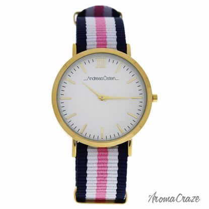 Andreas Osten AO-08 Somand Gold/Blue-White-Pink Nylon Strap Watch for Women 1 Pc - Best Womens Watches | Watches For Women on Sale | Luxury Watches For Women | Women Desginer Watches | Michael Kors Smarwatch | Affordable Luxury Watches | AromaCraze.com