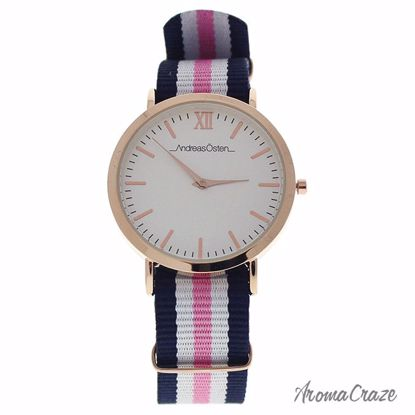 Andreas Osten AO-07 Somand Rose Gold/Navy Blue-White-Pink Nylon Strap Watch for Women 1 Pc - Best Womens Watches | Watches For Women on Sale | Luxury Watches For Women | Women Desginer Watches | Michael Kors Smarwatch | Affordable Luxury Watches | AromaCraze.com