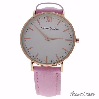 Andreas Osten AO-161 Pure Rose Gold/Light Pink Leather Strap Watch for Women 1 Pc - Best Womens Watches | Watches For Women on Sale | Luxury Watches For Women | Women Desginer Watches | Michael Kors Smarwatch | Affordable Luxury Watches | AromaCraze.com