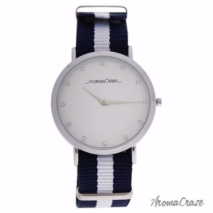 Andreas Osten AO-21 Silver/Blue & White Nylon Strap Watch for Women 1 Pc - Best Womens Watches | Watches For Women on Sale | Luxury Watches For Women | Women Desginer Watches | Michael Kors Smarwatch | Affordable Luxury Watches | AromaCraze.com