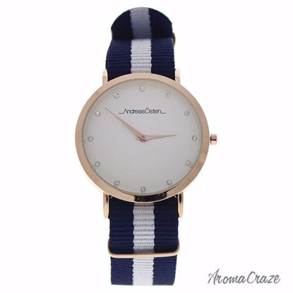 Andreas Osten AO-19 Somand Rose Gold/Navy Blue-White Nylon Strap Watch for Women 1 Pc - Best Womens Watches | Watches For Women on Sale | Luxury Watches For Women | Women Desginer Watches | Michael Kors Smarwatch | Affordable Luxury Watches | AromaCraze.com