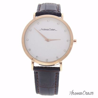 Andreas Osten AO-25 Klassisk Rose Gold/Cocodrile Dark Brown Leather Strap Watch for Women 1 Pc - Best Womens Watches | Watches For Women on Sale | Luxury Watches For Women | Women Desginer Watches | Michael Kors Smarwatch | Affordable Luxury Watches | AromaCraze.com