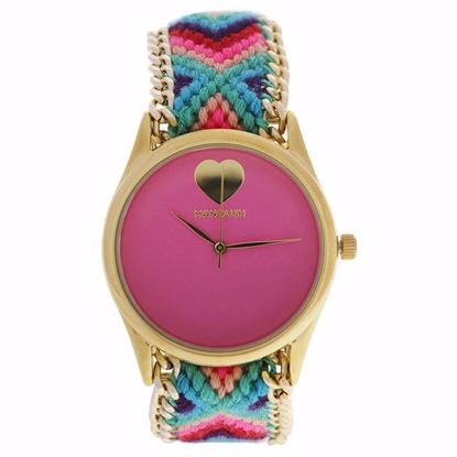 Manoush MSHHIPC Hindi Heart Gold/Pink Nylon Strap Watch for