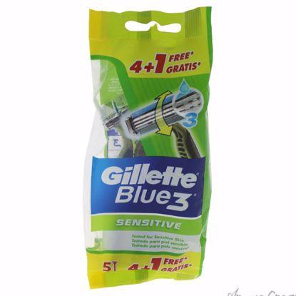 Blue 3 Sensitive Disposable Razors by Gillette for Men - 5 C