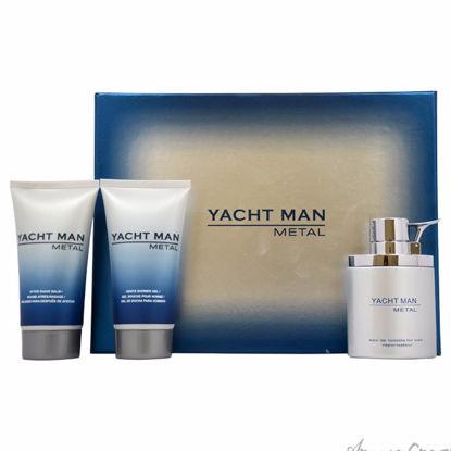 Yacht Man Metal by Myrurgia for Men - 3 Pc Gift Set 3.4oz ED