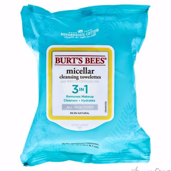 Micellar Cleansing Towelettes by Burts Bees for Unisex - 30 Pc Towelettes - Face Care Products | Facial Care Products | All Natural Skin care | Best Anti Aging Skin Care Products | AromaCraze.com