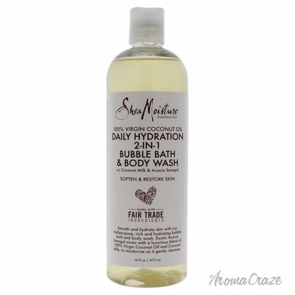 100 Percent Virgin Coconut Oil Daily Hydration 2-In-1 Bubble Bath and Body Wash by Shea Moisture for Unisex - 16 oz Body Wash - Top Skin Care Products | Best Anti Aging Skin Care Products| Body Care | All Natural Skin care | AromaCraze.com