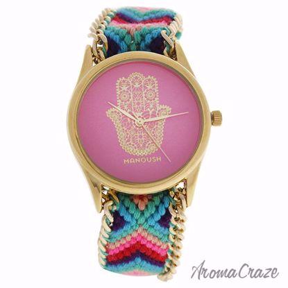 Manoush MSHHIPH Hindi Hand Gold/Pink Nylon Strap Watch for W