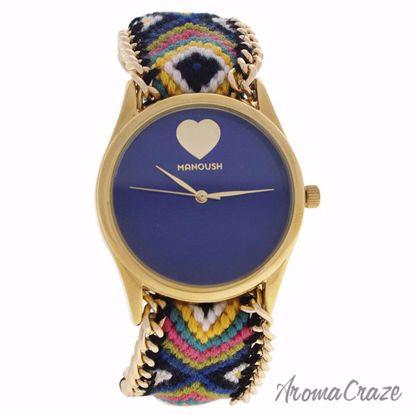 Manoush MSHHIBC Hindi Heart Gold/Blue Nylon Strap Watch for