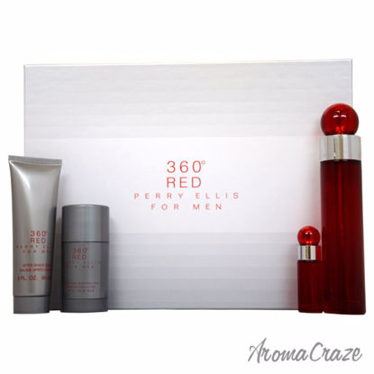 360 Red by Perry Ellis for Men - 4 Pc Gift Set 3.4oz EDT Spray, 3oz After Shave Balm, 2.75oz Alcohol Free Deodorant Stick, 7.5ml EDT Spray - After shave for men | Best Mens After Shave | Best Aftershave Splash | Aftershave Lotion | All Natural Skin care | AromaCraze.com
