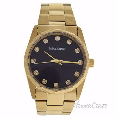 ZVF221 Black Dial/Gold Stainless Steel Bracelet Watch by Zad