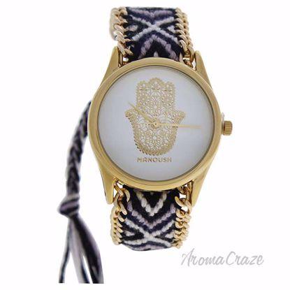 MSHHIWH Hindi Hand - Gold/Black Nylon Strap Watch by Manoush