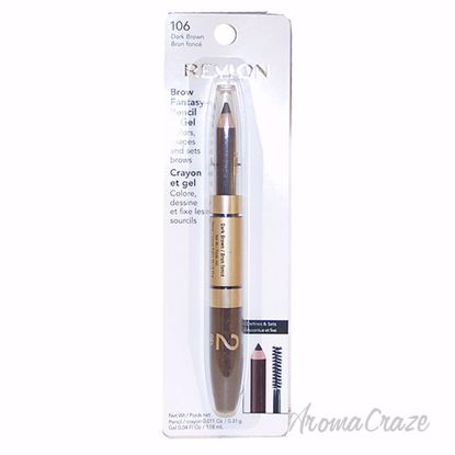 Picture of Brow Fantasy Pencil & Gel #106 Dark Brown by Revlon for Unisex - 0.04 oz Eye Brow Pencil